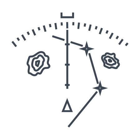 apparecchiature di navigazione con icone a linea sottile, radar meteorologico, display informativo