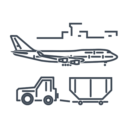 thin line icon luggage towing truck, tractor, airport ground support, cargo container