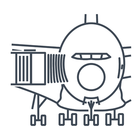 thin line icon passenger jet, aero bridge, airplane docked on the airport apron Ilustrace