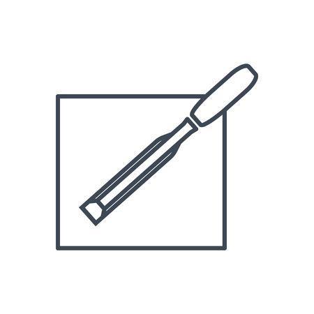 thin line icon carpenters chisel,  cutting edge Ilustrace