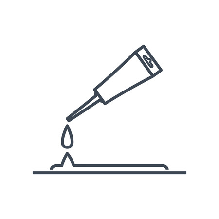thin line icon putting glue, sealant from a tube