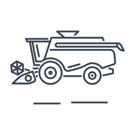 thin line icon harvester machine, combine Illustration
