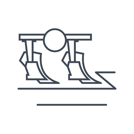 thin line icon plow, cultivating field, tillage Illustration