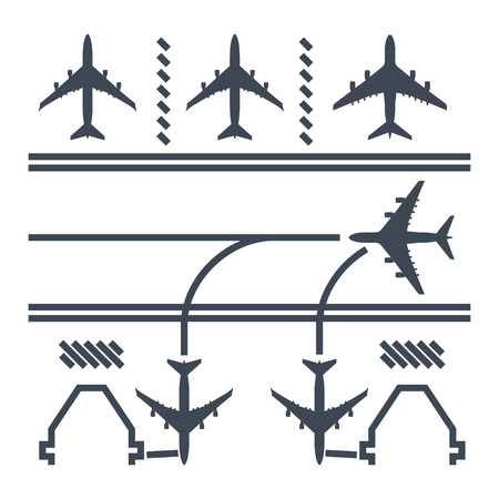thin line icon airport runway, airplane parking and airport terminal