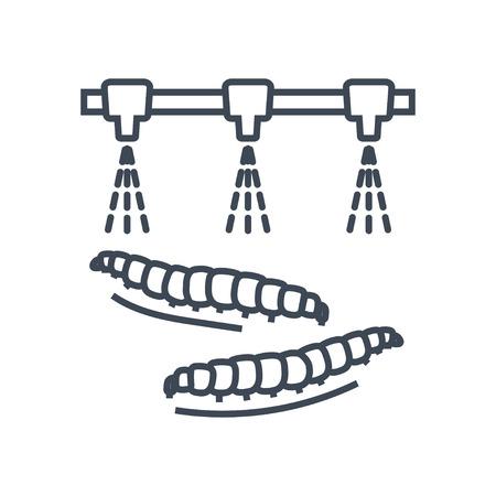 thin line icon spraying pesticide, caterpillars
