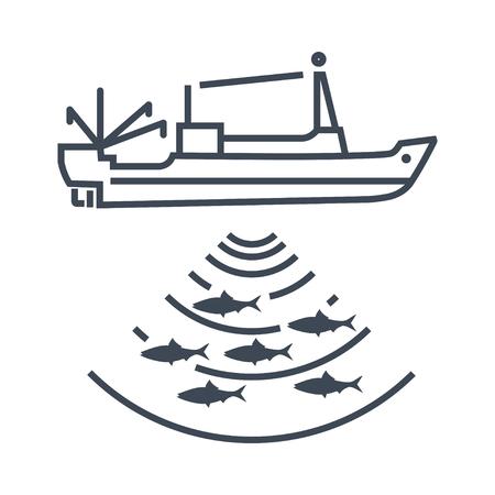 thin line icon fishing vessel, trawler, seiner, radar