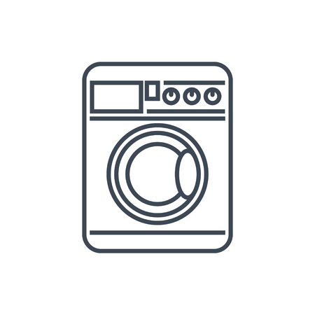 thin line icon laundry, dry cleaning, washing machine