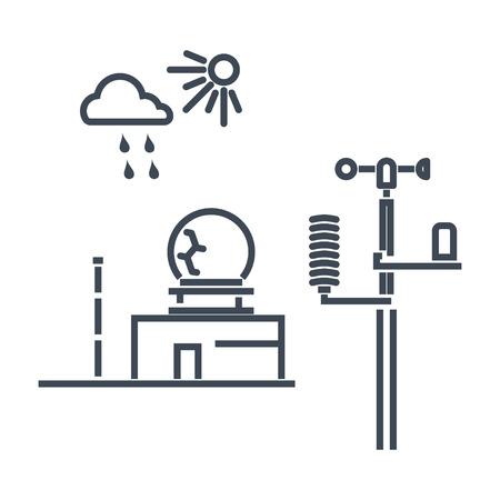 estación meteorológica de icono de línea delgada, radar