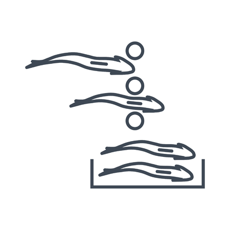 thin line icon fish processing, sorting fish