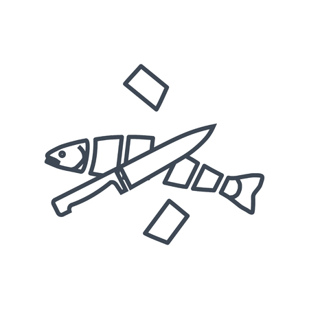 thin line icon cooking raw fish, cutting fish with knife Stock Illustratie