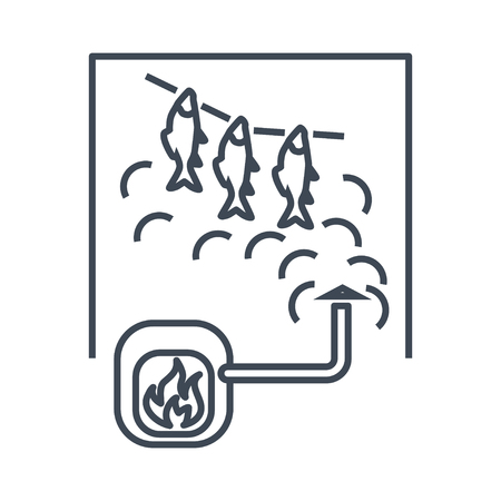 thin line icon fish processing, smoked fish, smokehouse Illustration
