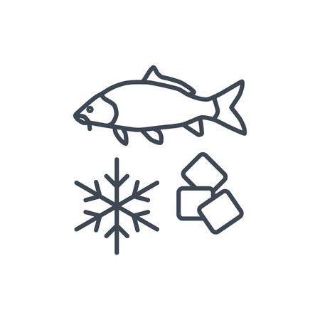 thin line icon fish processing, frozen fish
