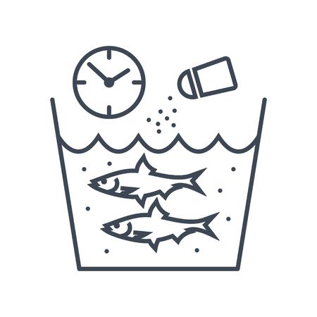 thin line icon fish processing, salting fish Çizim