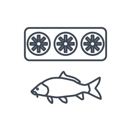 thin line icon fish storage, cooling fish, refrigerator Ilustrace