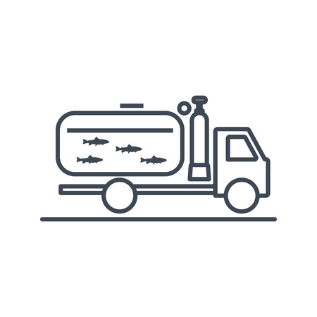 thin line icon transportation, delivery of fresh, live fish Çizim