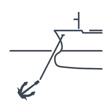 thin line icon anchored ship