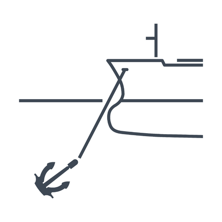 thin line icon anchored ship