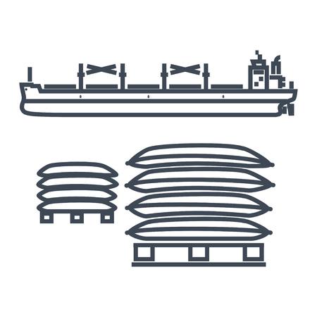 thin line icon dry cargo ship, bulk carrier, pallet, bags Çizim