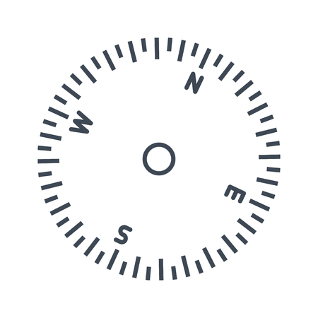 thin line icon airplane, ship instrument, compass, information about direction