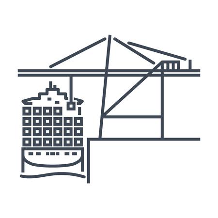 thin line icon container crane, cargo ship, port terminal