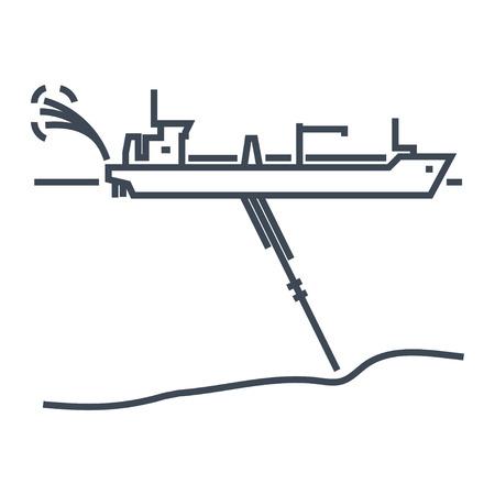 thin line icon dredger ship