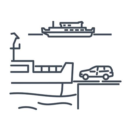 thin line icon ferry, car