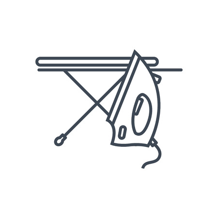 thin line icon laundry, dry cleaning, iron, ironing board