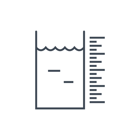 thin line icon laundry, dry cleaning, liquid, water volume measurement