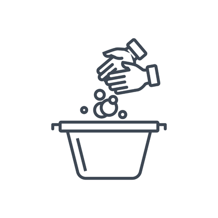 thin line icon laundry, dry cleaning, hand washing Ilustrace
