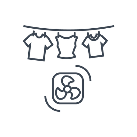 thin line icon laundry, dry cleaning, clothes drying Ilustrace