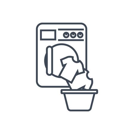 thin line icon laundry, washing machine, loading clothes