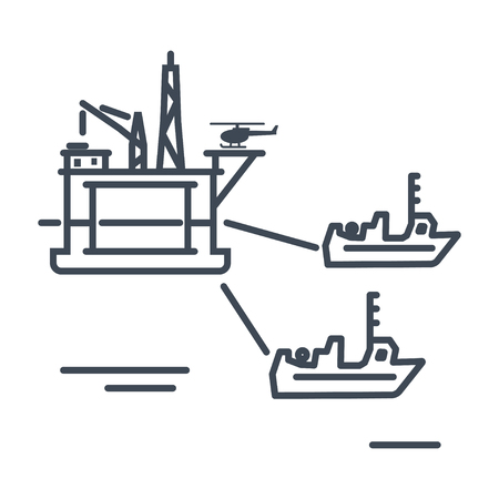 thin line icon towing gas and oil rig platform, tugboat