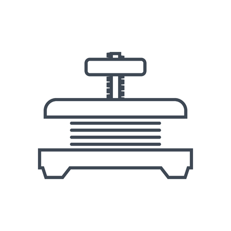 thin line icon press machine, squeezer