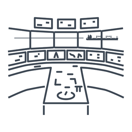thin line icon bridge of a ship, wheelhouse, radar, control room, cabin of captain