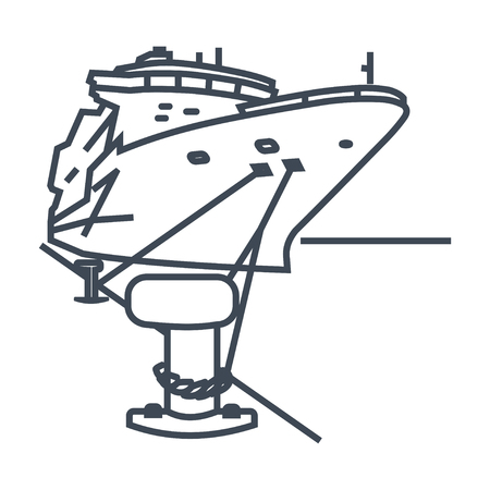 thin line icon ship moored in port, bollard with mooring ropes Illustration