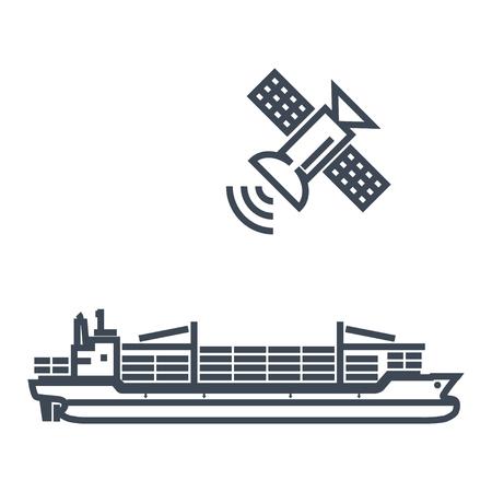 thin line icon cargo container ship, satellite