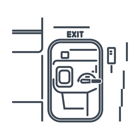 thin line icon airplane interior, door exit on the plane