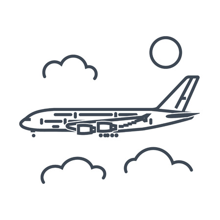 thin line icon passenger airplane flying above clouds