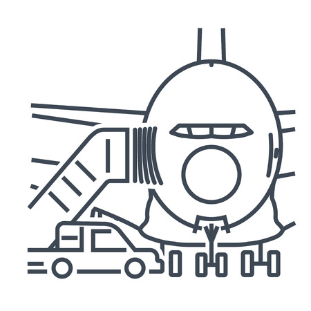 thin line icon passenger airplane, ladder to the entrance of the aircraft, gangway Ilustrace