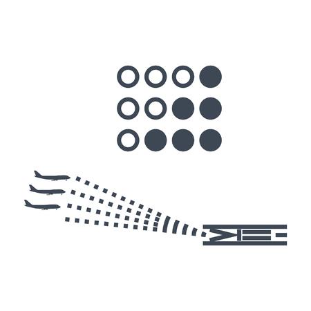 thin line icon airplane landing