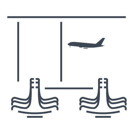 thin line icon airport terminal lounge Ilustrace