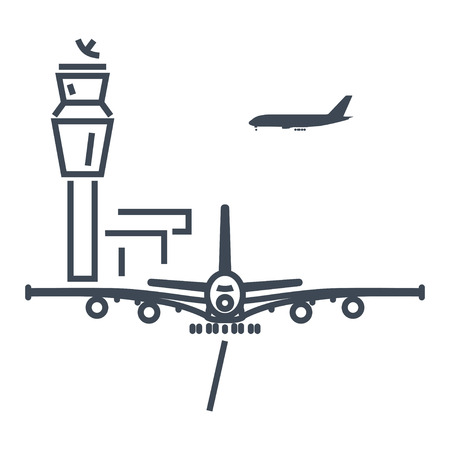 thin line icon airport control tower, aircraft Illustration
