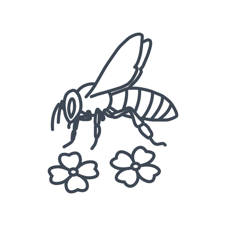 thin line icon bee and flowers Ilustrace