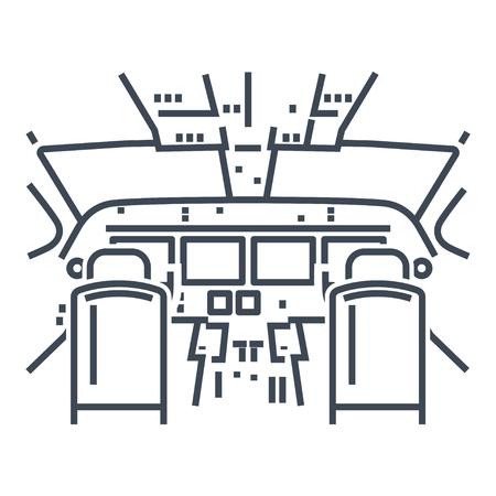thin line icon interior of cockpit passenger airplane, instrument panel