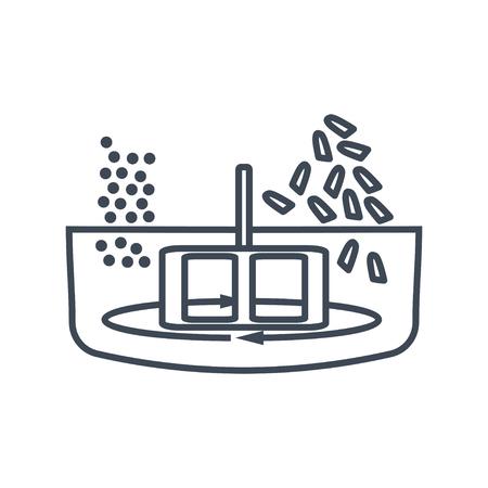Dünne Linie Symbol Lebensmittelverarbeitungsanlage, Mischen, Mischen Vektorgrafik