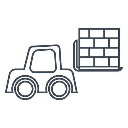 thin line icon forklift loader, pallet stacker truck Imagens - 124738986