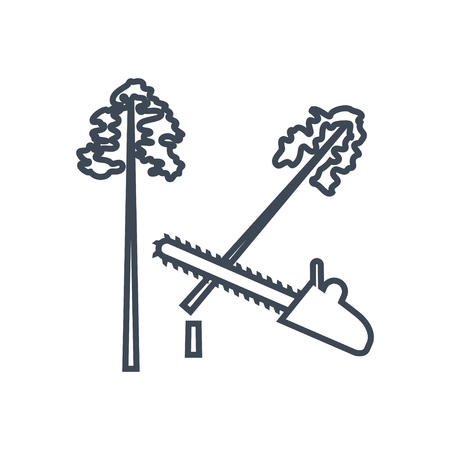 thin line icon lumber, wood, logging industry, felling of trees, saw