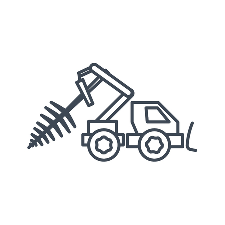 thin line icon lumber, wood, logging industry, skidder, harvester