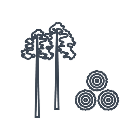thin line icon lumber, wood, logging industry, felled trees, clearcutting forest