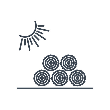thin line icon lumber, wood, logging industry, wood drying Ilustrace
